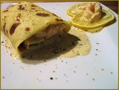 Vorspeise: Amarula-Shrimps-Crepes